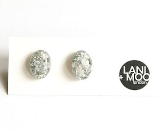Oval Clear Resin Stud Metallic Silver Leaf Statement Earrings!