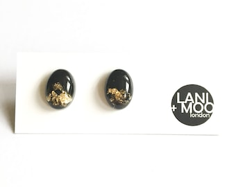 Small Oval Dome Black Resin Stud Metallic Gold Leaf Statement Earrings!