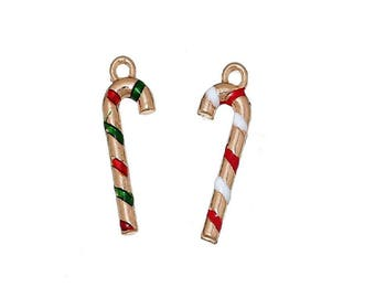 x 1 pendant charm 27 mm gold plated and enameled metal Christmas red and green or white.