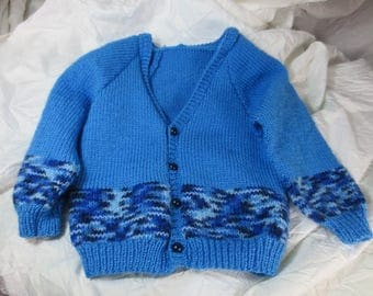 Cardigan baby boy blue tones