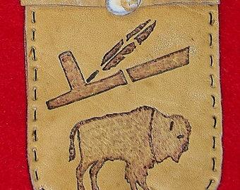 Native American Buckskin Leather Medicine Bag W/ Burned Peace Pipe & Buffalo
