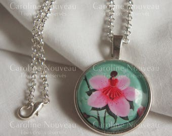 "25cm, Illustration ""flower"" pendant necklace"