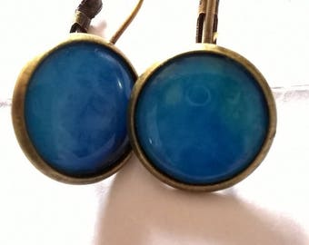 Earrings bronze sleeper cabochon not plain blue amazing, never seen
