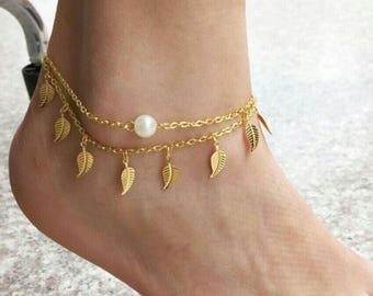 Layered Pearl Gold Anklet