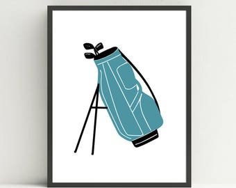 Golf Bag, Golf Nursery Art Print, Kids Golf Bedroom decor, Golf wall art prints, Choose your color