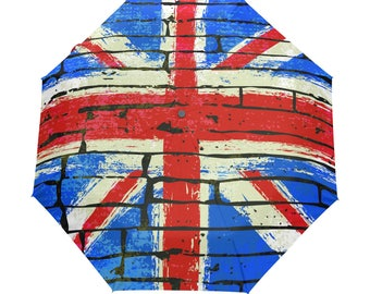 The Union Jack British Flag Umbrella Auto Foldable Sunny Rainy
