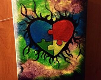 Autism puzzle heart 9x12