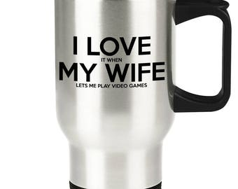 Gamer Travel Mug - Funny Video Game Husband Traveler Coffee Cup Gift Idea for Married or Engaged Men - Gaming Gag Gift for Him from Wife