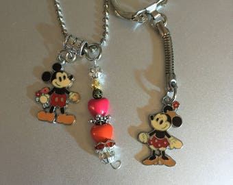 Handmade Minnie Mickey Necklace and Keychain Set with Pendant