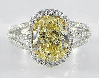 Handmade Canary Yellow Diamond Engagement Ring Pave Halo Limited Time Sale