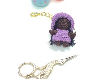 Miniature girl plannercharm / keyring / purse charm / dark skin tone