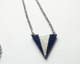 Triangle necklace wood hand-painted blue silver glitter