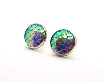 Sparkling white/Rainbow earrings