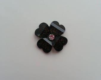 fleur en résine avec strass au centre 20 mm noir