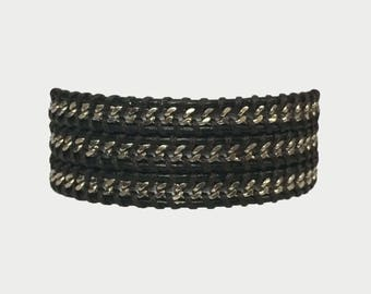Black leather & Silver Chain wrap bracelet