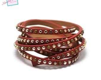 "1.15 m Strip split leather 5 x 2 mm ""studded"" Red"