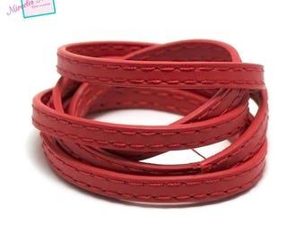 "98 cm Strip split leather 5 x 2 mm ""stitching"", Red"