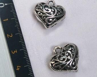 Silver 3D heart pendant