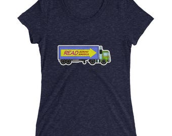 Womens Read Across America  t-shirt truck reading literacy books library teacher gift education school dr seuss learning