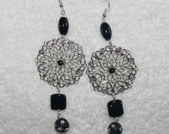 Silver Flower charm earring