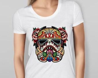 Womens Star Wars Stormtrooper Sugar Skull - White T-shirt