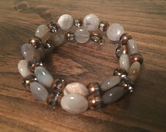 Glass bead and natural stone stretch bracelet