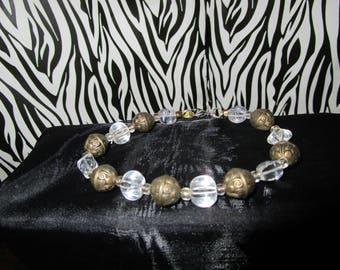 Dark Bronze & ClearBeaded Bracelet