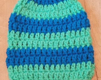 Crochet Baby Hat Blue And Green