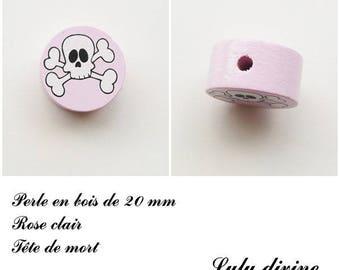 Wooden bead of 20 mm, flat, skull bead: light pink