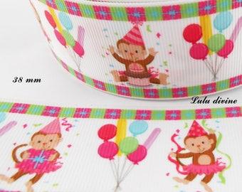 Birthday monkey balloon 38 mm white grosgrain Ribbon sold by 50 cm
