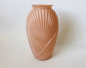 Vintage Blush Pink Vase 1980's Ceramic Glass