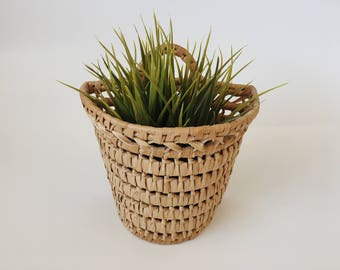 Vintage Woven Wicker Hangin Basket Planter Plant Holder Boho