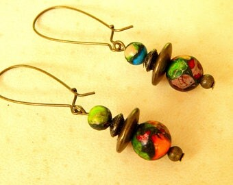 Gemstone Jasper sediment with pyrite and antique bronze earrings