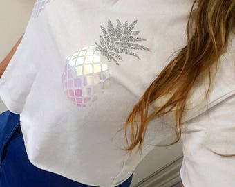 Iridescent Pineapple Cropped T-shirt