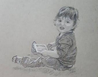 Custom Black and White Child Portrait