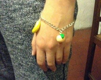 Banana and peach polymer clay bracelet