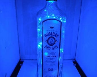 Bombay color changing LED lamp (battery) Glass Liquor Bottle - LED Lighting with REMOTE!!