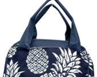 Personalized Lunch Bag Tote Pineapple Navy Monogram, Initials, Name