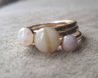 14kt Gold Filled Simple Stacking Breastmilk Rings (set of 3) Also available in Sterling Silver