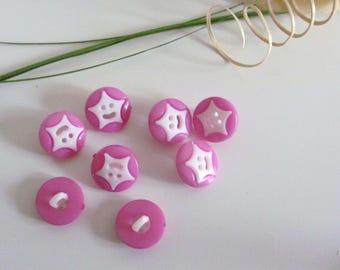 8 buttons round fantasy star purple 14 mm