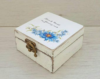 Wedding ring box personalized Ring bearer box Save the date wedding box Wedding ring holder Floral ring box Rustic ring box Engagement box
