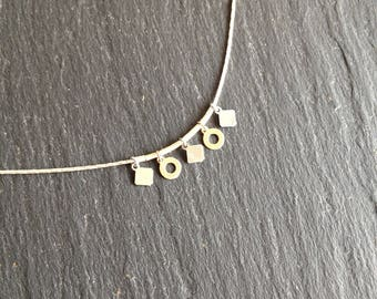 Necklace thin layering circles and squares