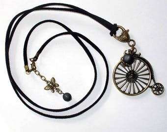 Velocipede 80 cm black faux suede necklace