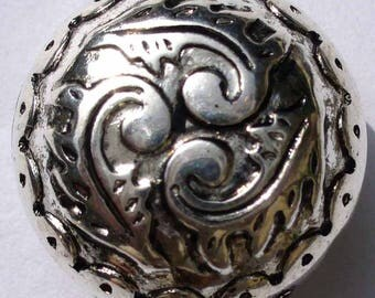 2 Perls puck CCB domed silver 25mm - CCBP24