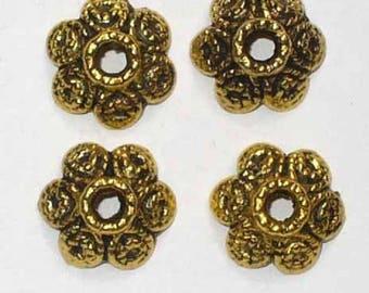 4 bead caps round Golden 12mm ACC04