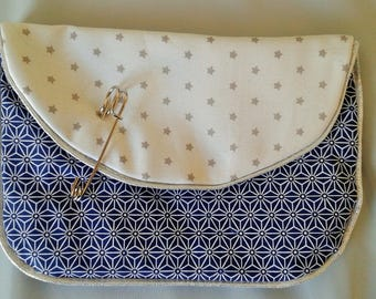 Silver and white pouch for handbag