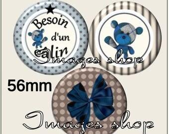 Envoi gratuit !Images pour MIROIRS - Images digitales TEDDY BLEU pour miroirs ou badge 56mm