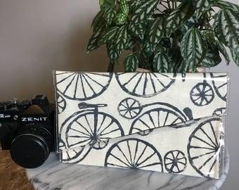 Penny Farthing- Linoprinted Clutch