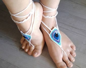 Foot jewels, Barefoot sandals, crocheted cotton