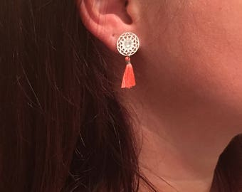 Print in silver and coral tassel earrings